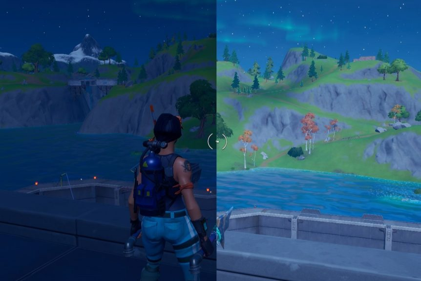 Fortnite color comparison with increased brightness and post processing