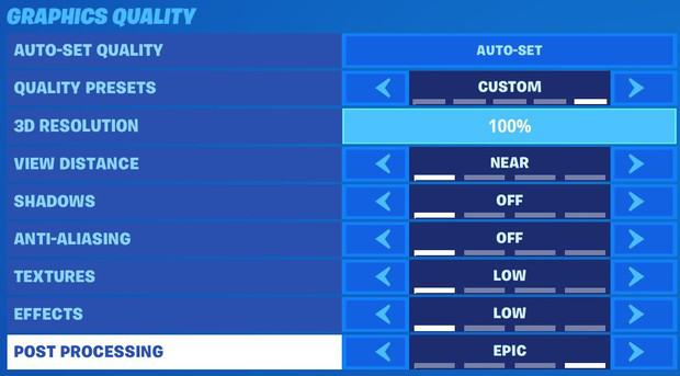 Increasing the post processing graphics quality setting in Fortnite to Epic