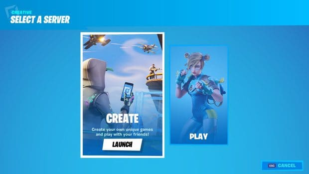 Launching a Fortnite Creative game