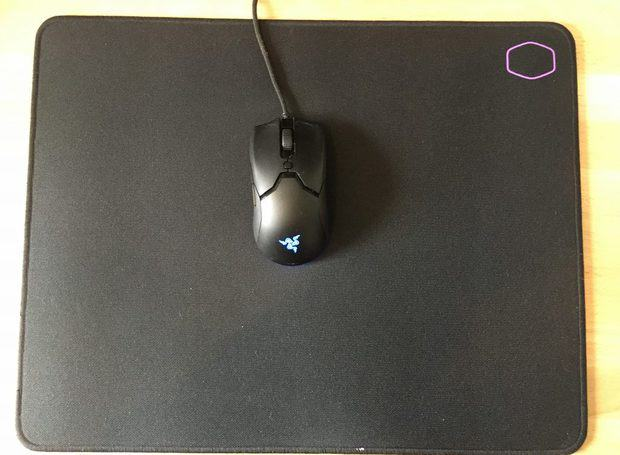 MP510 mouse pad on desk with mouse