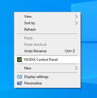 Selecting NVIDIA Control Panel from the desktop