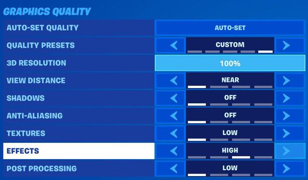 Setting Fortnite graphics quality effects setting to high to fix fishing spots disappearing bug