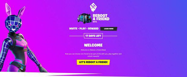 Reboot a friend main page with let's reboot a friend button