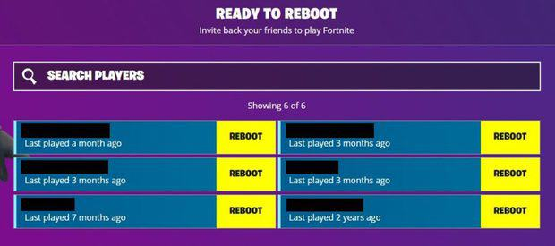 List of friends available in the Fortnite Reboot a Friend beta